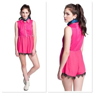 NWT Finders Keepers Aphrodite Pink Lace Playsuit 2
